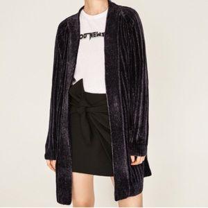 Zara Chenille Cardigan Sweater Navy Blue Duster